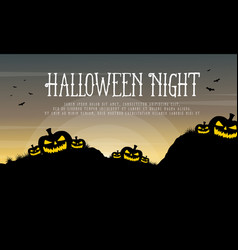Halloween night with pumpkin background vector