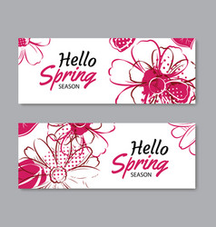 Hello spring season banner template background vector