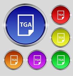 Image file type format tga icon sign round symbol vector