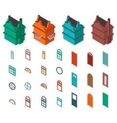 isometric set designer house vector image vector image