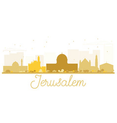 Jerusalem city skyline golden silhouette vector