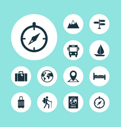 Journey icons set collection of planet mount vector
