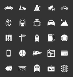 Land transport related icons on gray background vector image