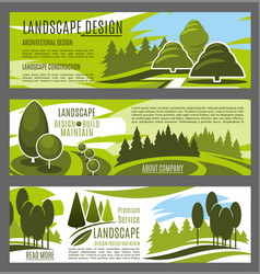 Landscaping and gardening service banners design vector