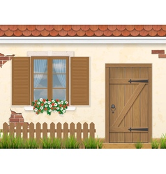 Old facade wall window and wooden door vector