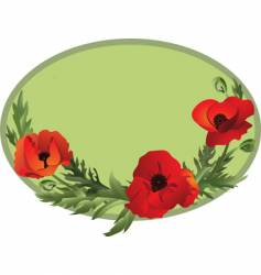 poppy oval vector image