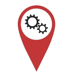Red geo pin with gear wheels vector