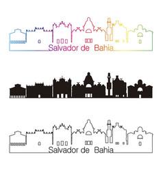 salvador de bahia v2 skyline linear style with vector image vector image