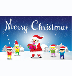 Santa claus and childen seng gift merry christmas vector