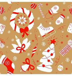 Seamless pattern with christmas elements new year vector