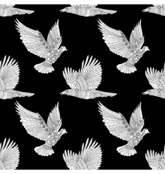 Seamless pattern with flying raven and dove vector