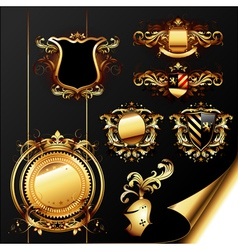 set of ornamental heraldic elements vector image vector image