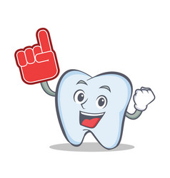 Tooth character cartoon style with foam finger vector