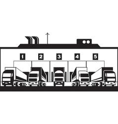 Trucks loading goods from warehouse vector