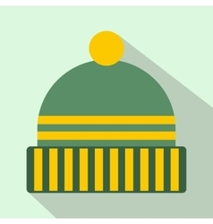 Winter hat icon flat style vector