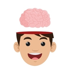 Person with brain outside head icon vector
