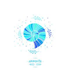 with ammonite sea theme vector image