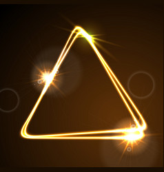 glowing orange neon triangle background vector image