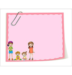 An empty paper templates with children vector