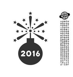 2016 fireworks detonator icon with job bonus vector