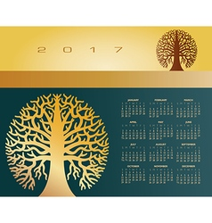 2017 creative round tree calendar vector