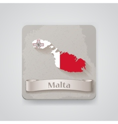 Icon of malta map with flag vector