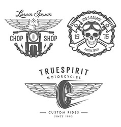 Set of vintage motorcycle design elements vector image
