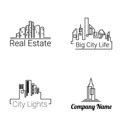 City buildings logo silhouette icons vector