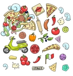 Pizza ingridients colorful design vector