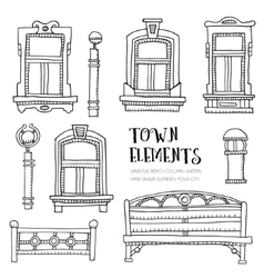 Town elements hand drawn vector