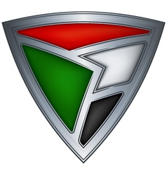 Steel shield with flag sudan vector