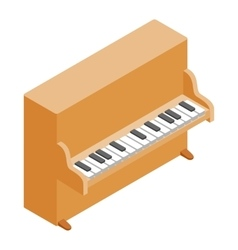 Brown upright piano icon isometric 3d style vector