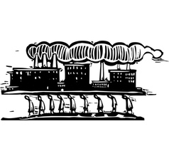 Factory on top vector
