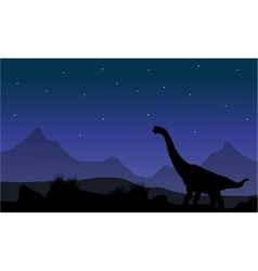 Silhouette of brachiosaurus in park vector