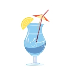 Blue cocktail with slice of lemon icon vector