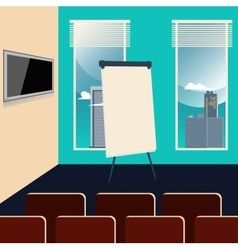Conference room interior with chairs tv set vector