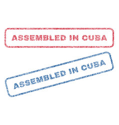 Assembled in cuba textile stamps vector
