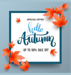 Autumn sale banner with maples vector