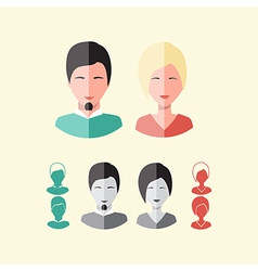 Avatars users flat modern style men and women face vector
