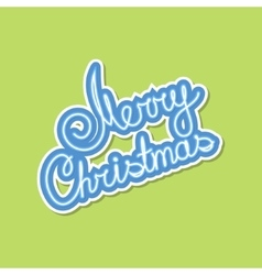 Blue text merry christmas on green background vector