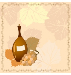 bottle of wine with grapes vector image