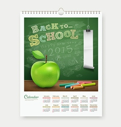 Calendar 2015 back to school concept design vector image vector image