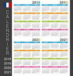 calendar 2018 2019 2020 2021 vector image