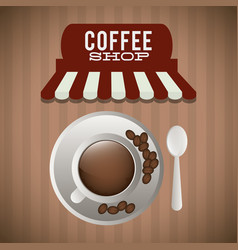 coffee shop cup plate spoon bean vector image vector image