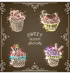 collection of vintage cupcakes watercolor splashes vector image