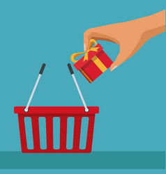 color background with shopping basket and hand vector image