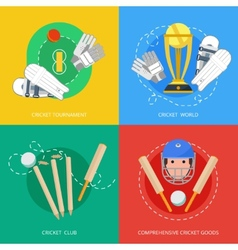 Cricket 4 flat icons composition vector image vector image