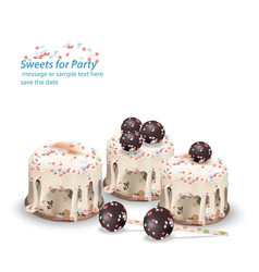 Delicious festive sweets and desserts for a party vector