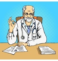 Doctor shows gesture ok comic book vector