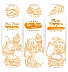 Fast food snacks sketch banners set vector
